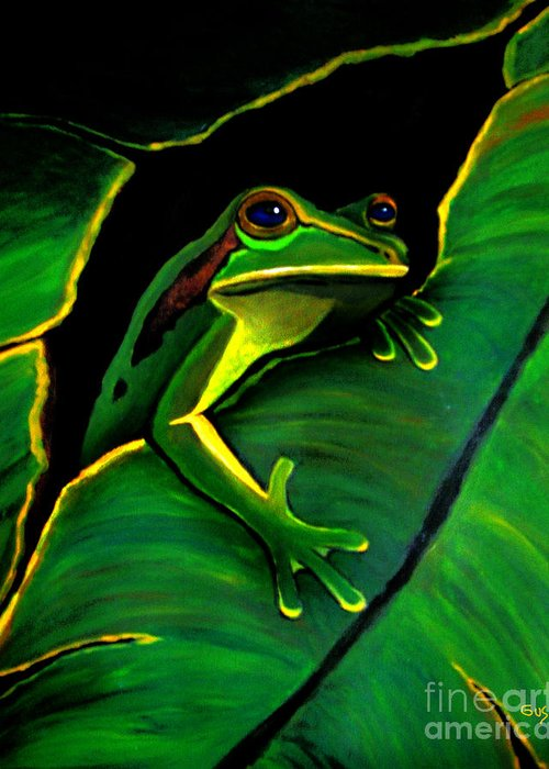 Frog Greeting Card featuring the painting Green Tree Frog And Leaf by Nick Gustafson