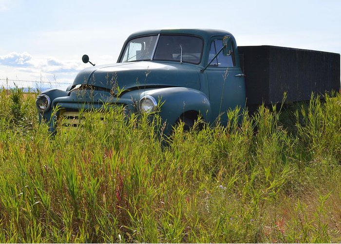 Truck Greeting Card featuring the photograph Green Truck In The Green Grass by Ed Mosier