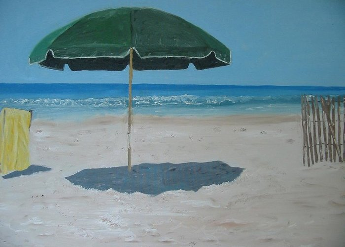 Seascape Greeting Card featuring the painting Green Umbrella by John Terry
