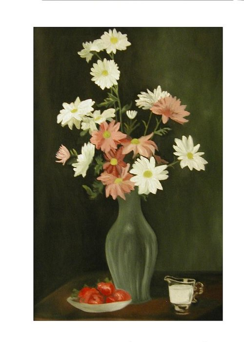 Still Life Greeting Card featuring the painting Green Vase With Flowers by Angelo Thomas