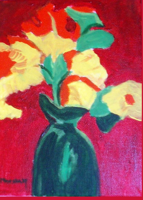 Vase Flowers Greeting Card featuring the painting Green Vase With Flowers by Lia Marsman