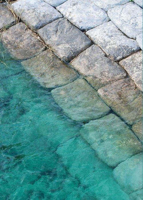 Water Blocks Bricks Greeting Card featuring the photograph Green Water Blocks by Rob Hans