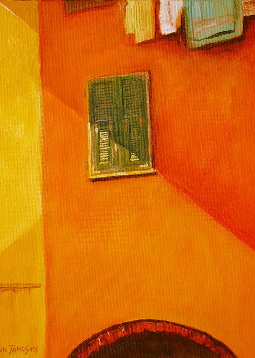 Window Greeting Card featuring the painting Green Window by Jun Jamosmos