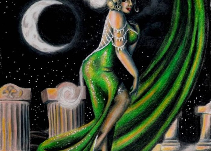 Night Greeting Card featuring the drawing Green With Envy by Scarlett Royal