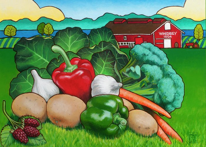 Greenbank Farm Greeting Card featuring the painting Greenbank Bounty by Stacey Neumiller