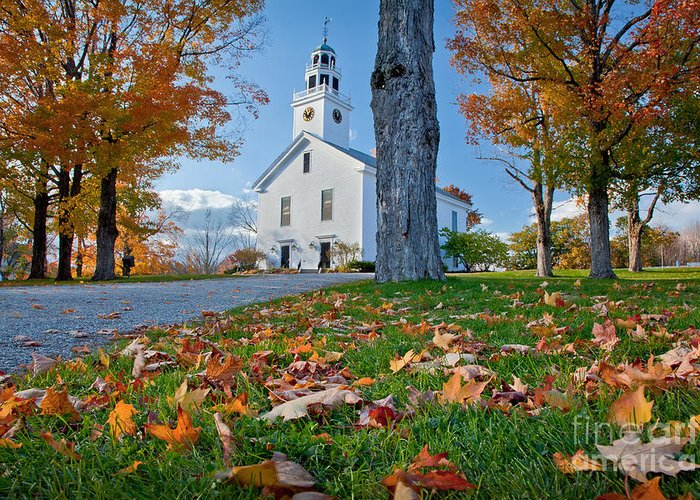 Autumn Greeting Card featuring the photograph Greenfield Church by Susan Cole Kelly