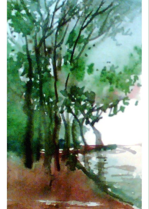 Water Color Greeting Card featuring the painting Greens by Anil Nene