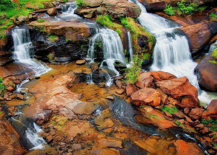 Nature Greeting Card featuring the photograph Greenville's Reedy River Falls, South Carolina by Zayne Diamond Photographic