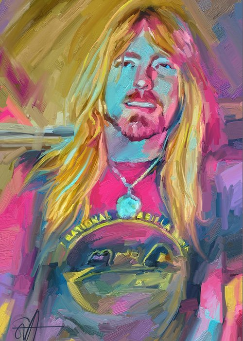 Gregg Allman Music Portrait Musician Rock Greeting Card featuring the digital art Gregg by Scott Waters