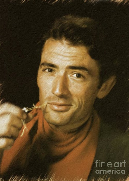 Gregory Greeting Card featuring the painting Gregory Peck, Vintage Actor by Mary Bassett