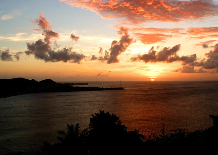 Sunset Greeting Card featuring the photograph Grenadian Sunset II by Jean Macaluso