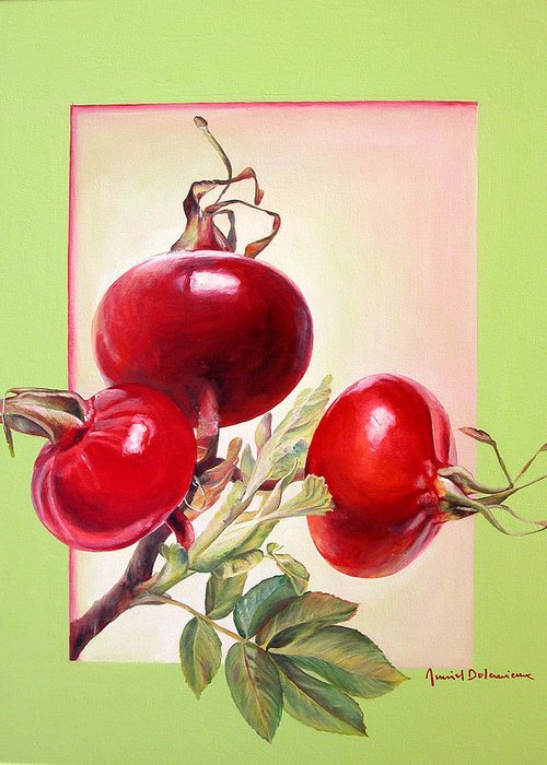 Still Life Greeting Card featuring the painting Grenadine by Muriel Dolemieux