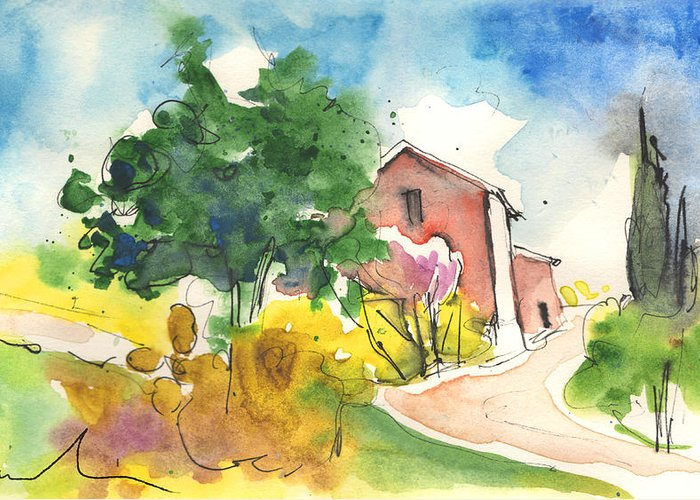 Italy Greeting Card featuring the painting Greve In Chianti In Italy 01 by Miki De Goodaboom