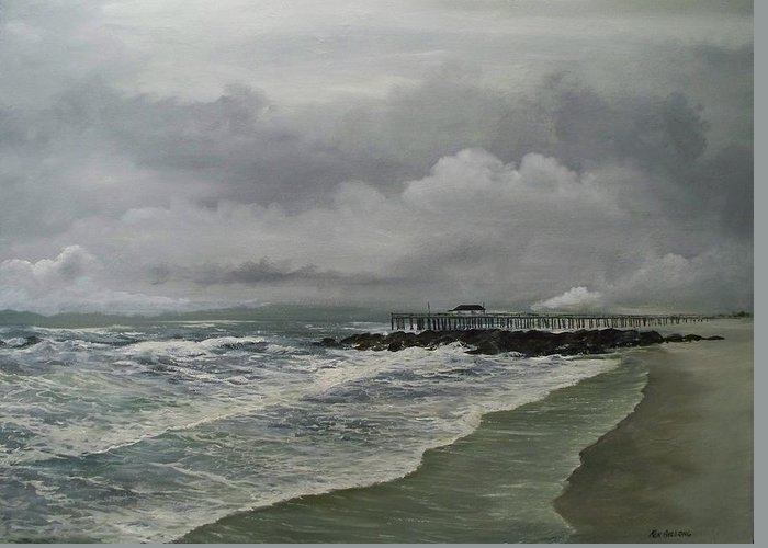 Seascape. Ocean Greeting Card featuring the painting Grey Day At Ocean Grove by Ken Ahlering