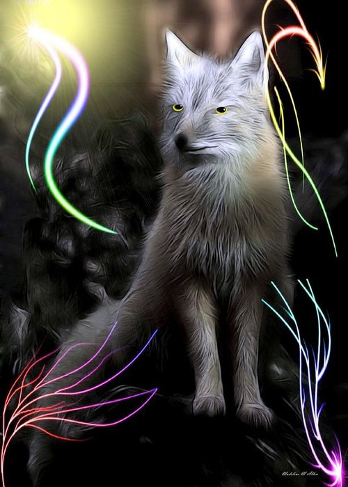 Smudgeart Greeting Card featuring the digital art Grey Fox by Madeline Allen - SmudgeArt