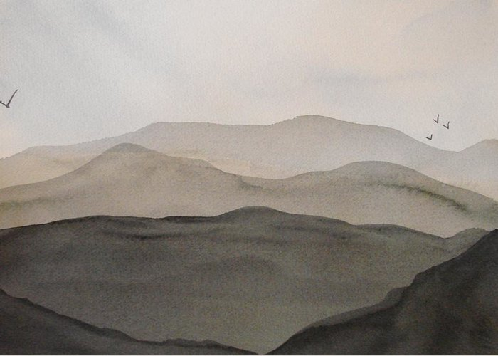 Landscape Greeting Card featuring the painting Grey Mountains by Liz Vernand