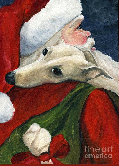 Dog Greeting Card featuring the painting Greyhound And Santa by Charlotte Yealey