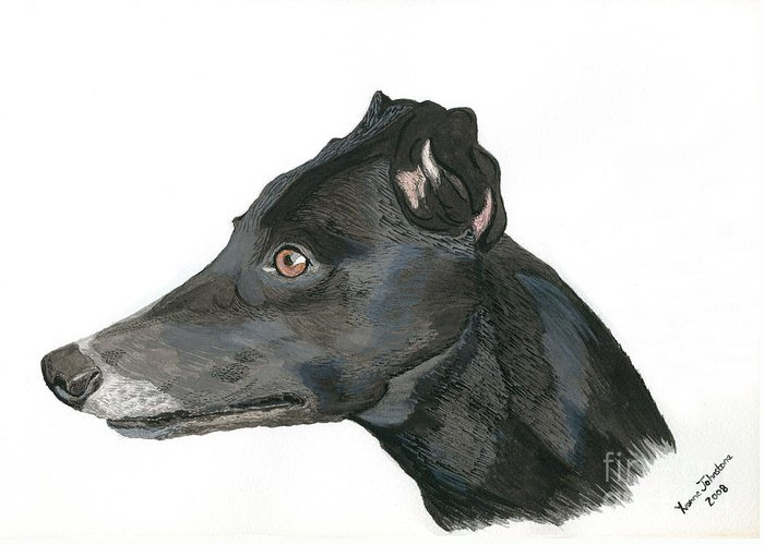 Greyhound Greeting Card featuring the painting Greyhound by Yvonne Johnstone