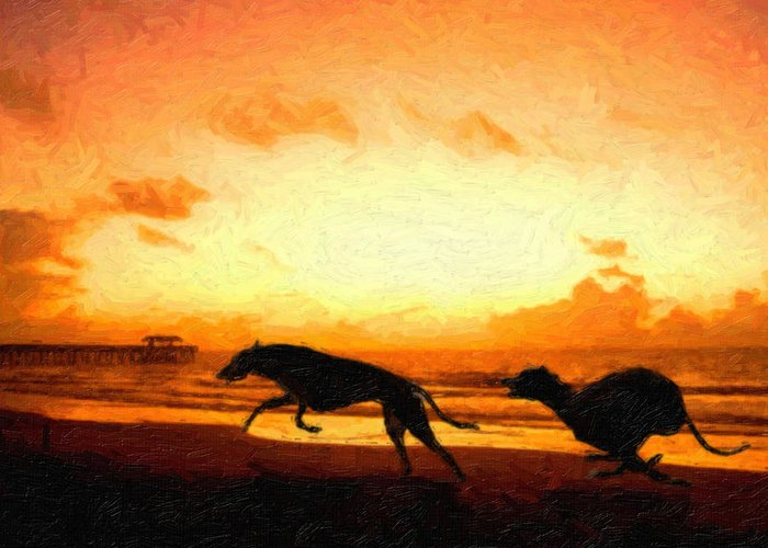 Greyhound Greeting Card featuring the painting Greyhounds On Beach by Michael Tompsett