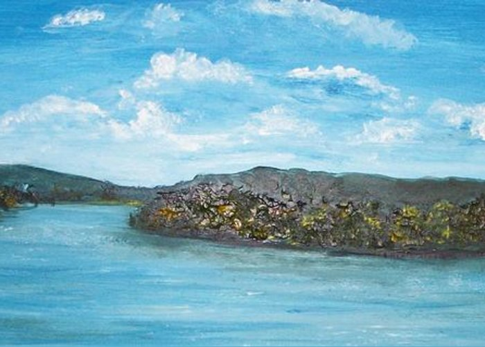 Landscape Greeting Card featuring the painting Greyson Lake by Tami Booher
