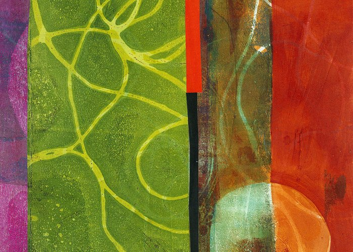 Acrylic And Collage Greeting Card featuring the painting Grid Print 13 by Jane Davies