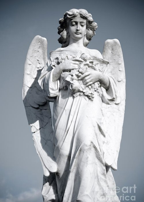 Angel Greeting Card featuring the sculpture Grieving Angel On The Old Graveyard by Yurix Sardinelly