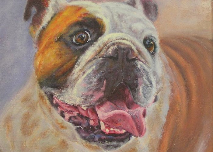 English Bulldog Portrait Greeting Card featuring the painting Griff by Sue Linton