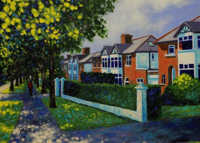 Landscape Greeting Card featuring the painting Griffith Avenue Dublin by John Nolan
