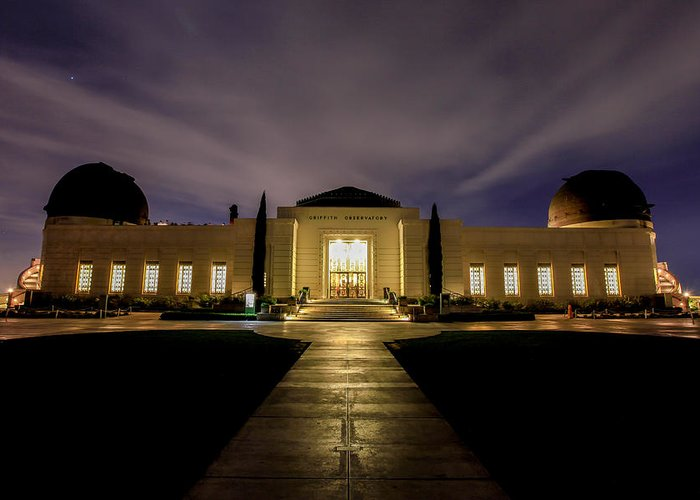 Night Greeting Card featuring the photograph Griffith Observatory by Robert Aycock