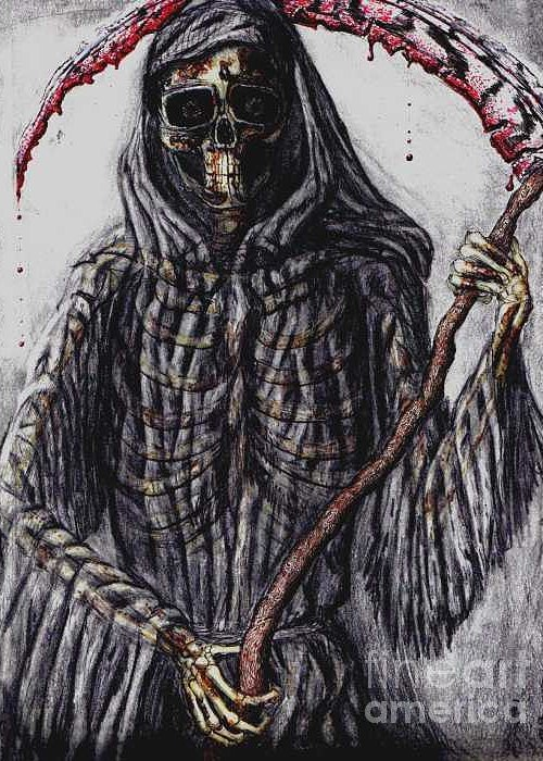 Grim Reaper Greeting Card featuring the drawing Grim Reaper Colored by Katie Alfonsi