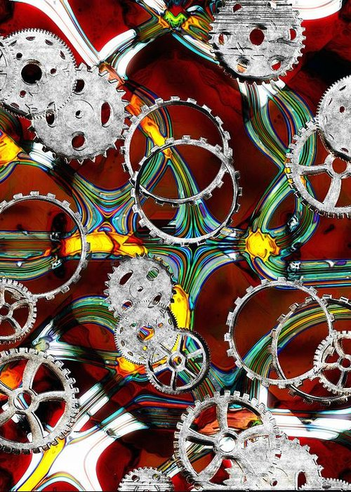 Gears Greeting Card featuring the painting Grinding The Gears by RC DeWinter