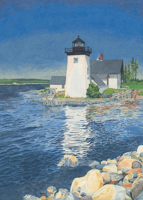Lighthouse Greeting Card featuring the painting Grindle Point Light by Dominic White