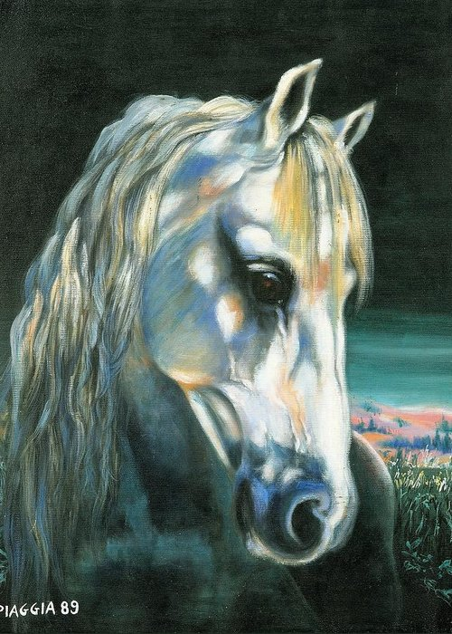 Horse Greeting Card featuring the painting Gringo Etalon Portugais by Josette SPIAGGIA