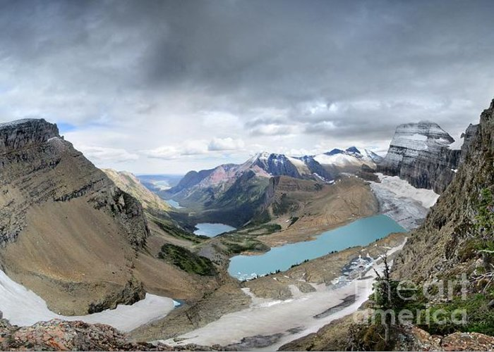 Glacier National Park Greeting Card featuring the photograph Grinnell Glacier Overlook Vista - Glacier National Park by Bruce Lemons