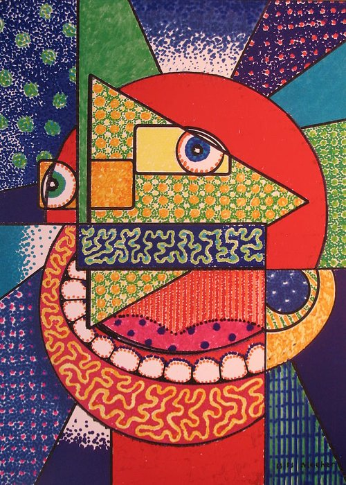 Cubism Greeting Card featuring the painting Grinning Redneck by Bill Meeker