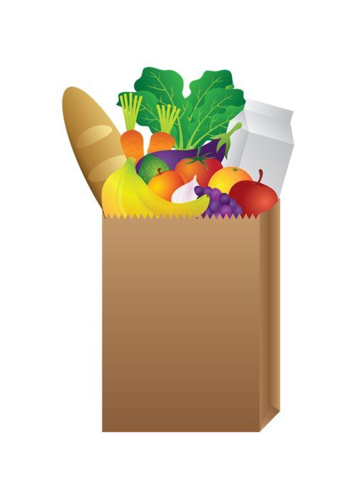 Grocery Paper Bag Of Food Illustration Greeting Card For