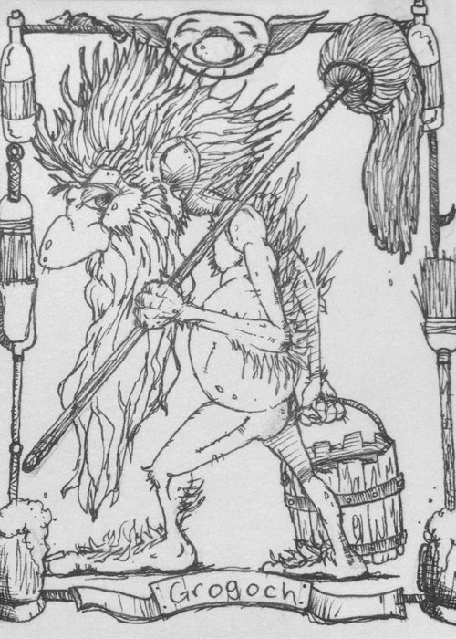 Fae Greeting Card featuring the drawing Grogoch by Jason Strong