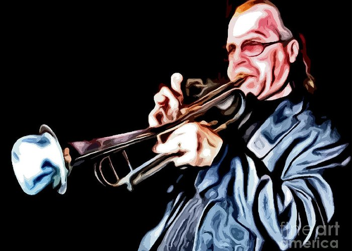 Jazz Greeting Card featuring the digital art Groovin' High by Richard Jones
