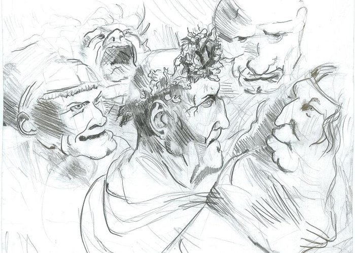 Greeting Card featuring the drawing Grotesque Heads by Joseph Arico