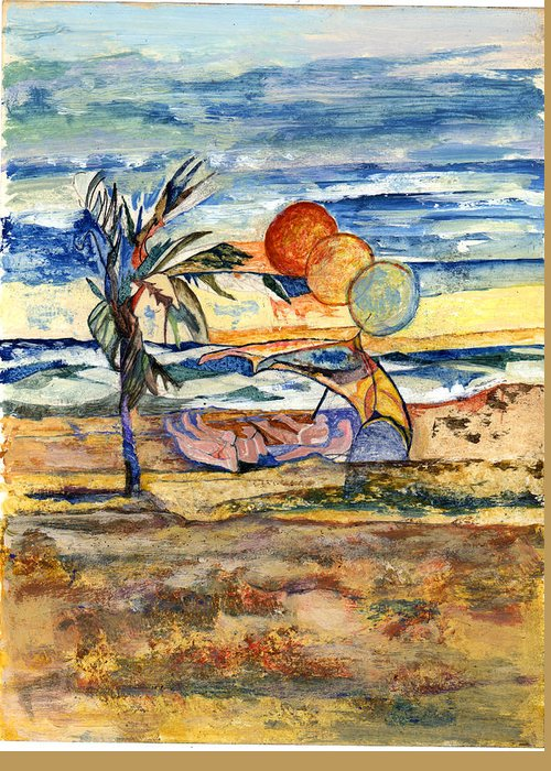Seascape Greeting Card featuring the painting Group At The Beach by Lily Hymen
