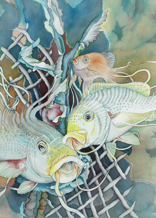 Fish Greeting Card featuring the painting Groupers And Their Friends by Liduine Bekman