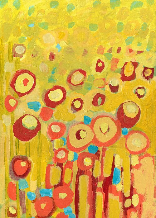 Abstract Greeting Card featuring the painting Growing In Yellow No 2 by Jennifer Lommers