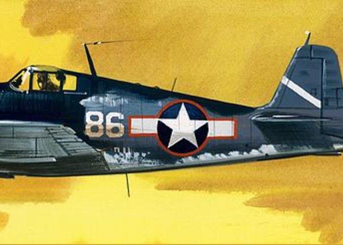 Aircraft; Aeroplane; Plane; Flying; Grumman F4rf-3 Wildcat; Grumman F6f-3 Hellcat; Chance Vought F4u-1a Corsair Greeting Card featuring the painting Grumman F6f-3 Hellcat by Wilf Hardy