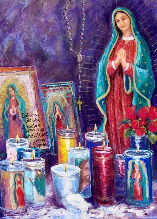 Guadalupe Greeting Card featuring the pastel Guadalupe Y Las Velas Candles by Candy Mayer