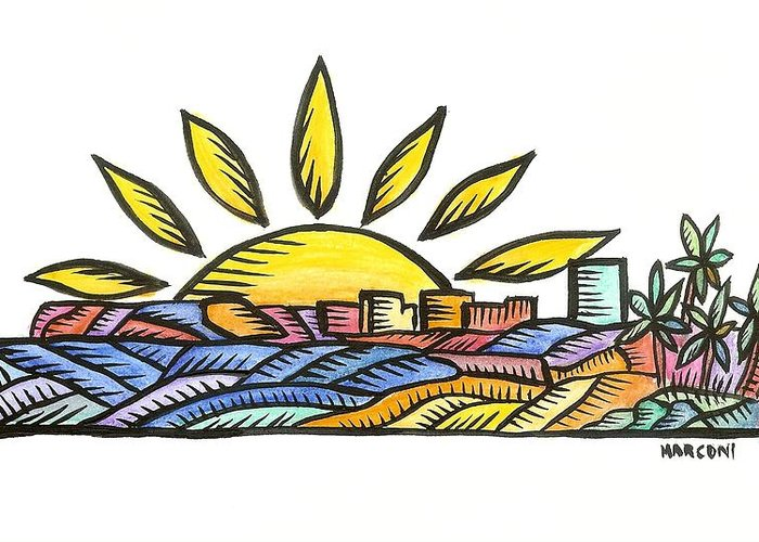 Greeting Card featuring the painting Guam Sunset 2009 by Marconi Calindas