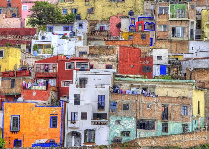 Architecture Greeting Card featuring the photograph Guanajuato Jumble by Juli Scalzi