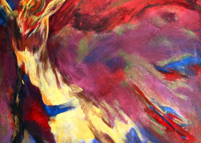 Abstract Greeting Card featuring the painting Guardian Angel by Denice Rinks