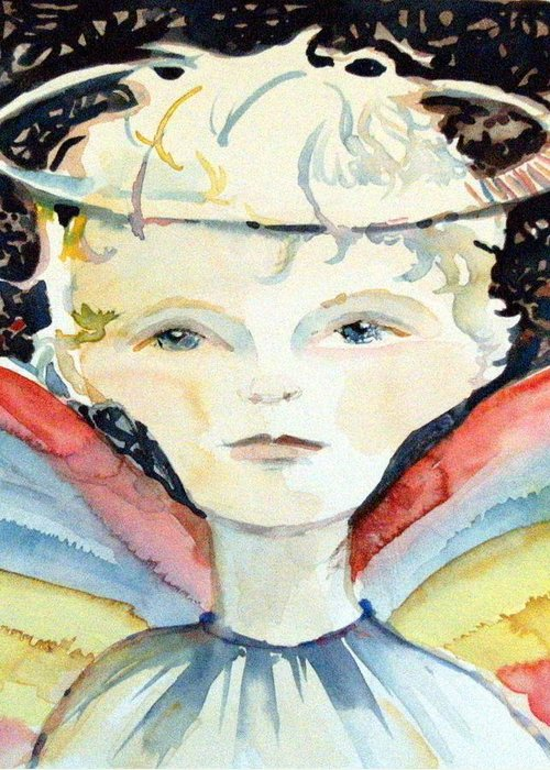 Guardian Greeting Card featuring the painting Guardian Angel by Mindy Newman