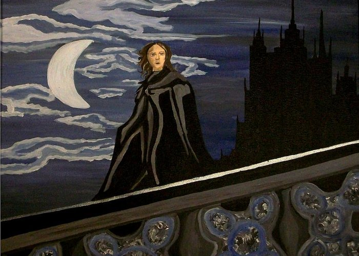 Night Greeting Card featuring the painting Guardian by Carolyn Cable