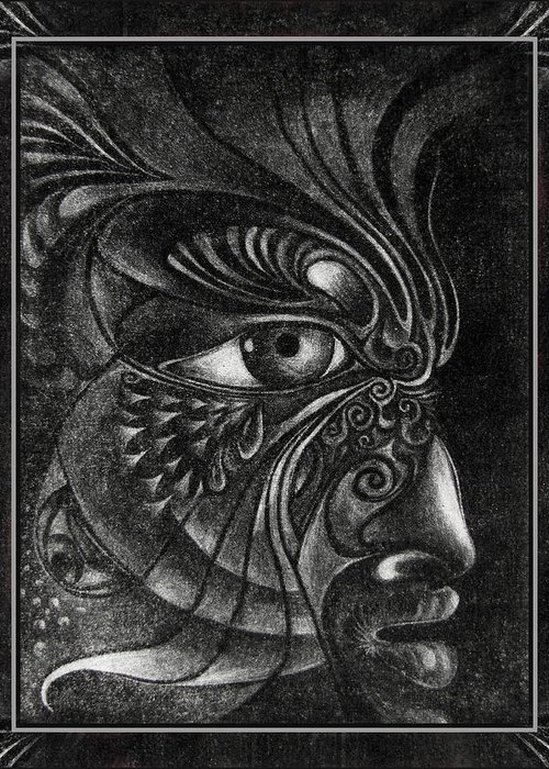 Mezzotint Greeting Card featuring the drawing Guardian Cherub by Otto Rapp